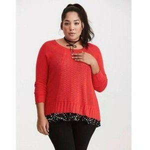 Torrid Mixed Stitch Pointelle Pullover Sweater